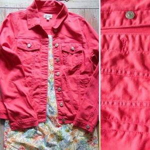 Just USA Loula Colored Coral Pink Denim Jacket, M